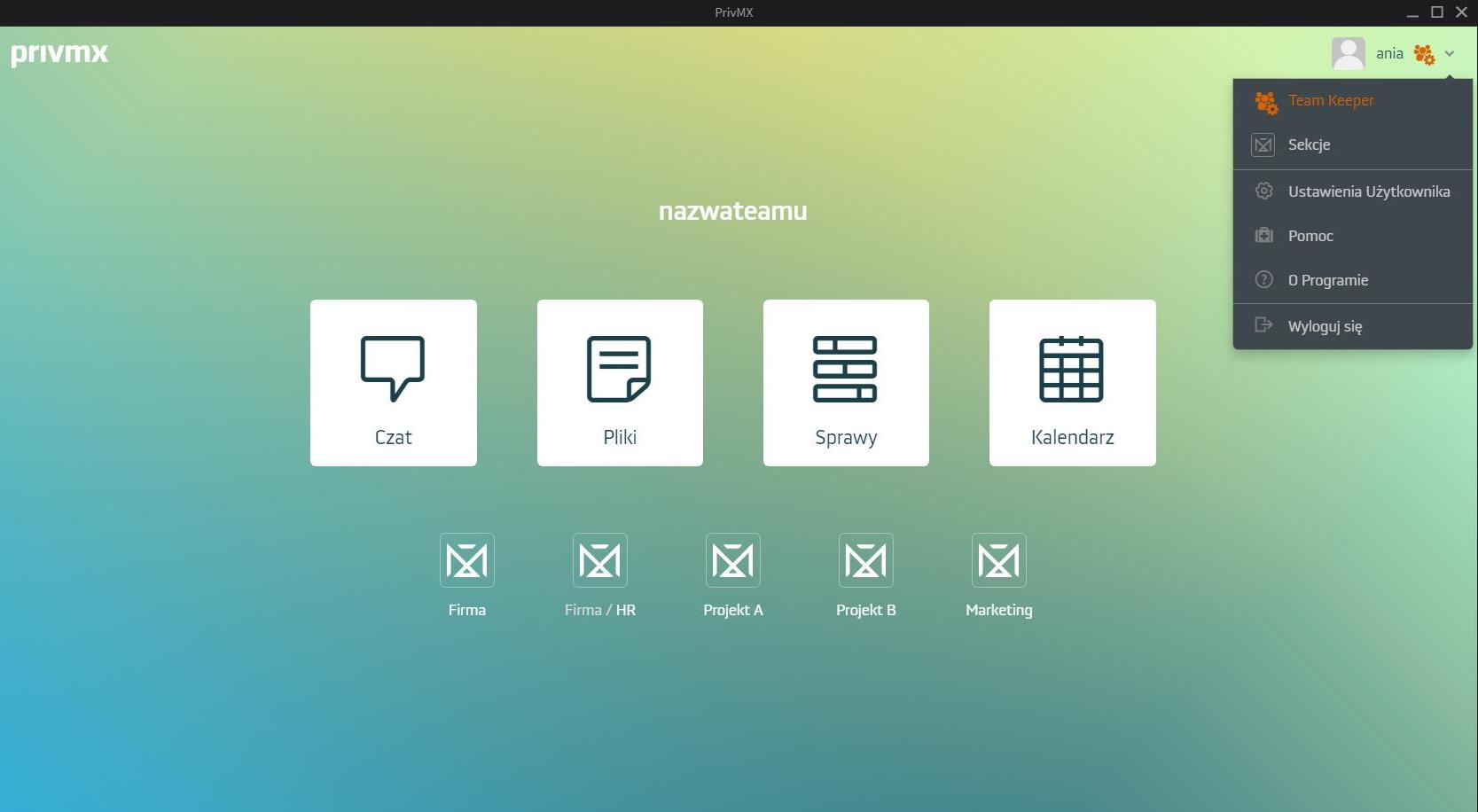 interfejs PrivMX strona startowa