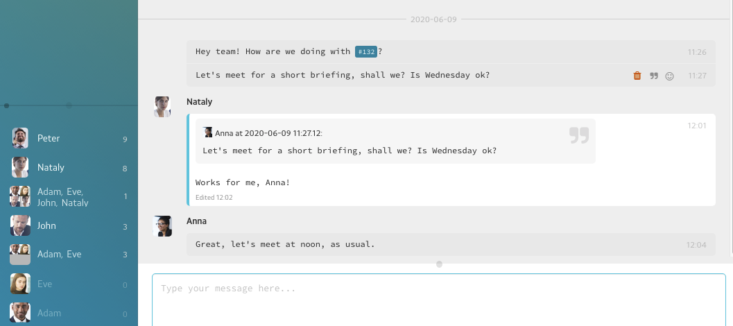 quoting messages in PrivMX chat