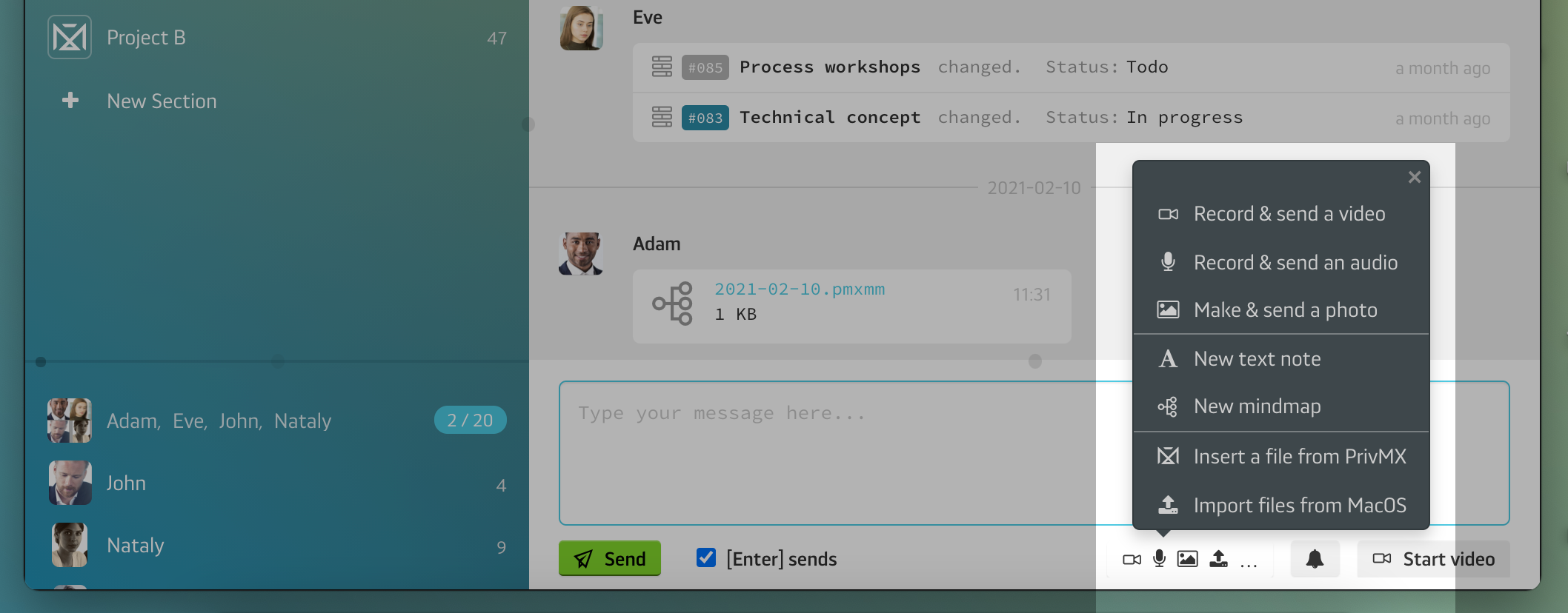 Sending an encrypted Video Message with PrivMX