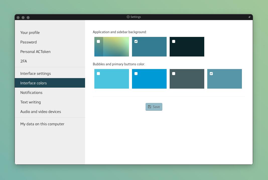 new interface color settings menu