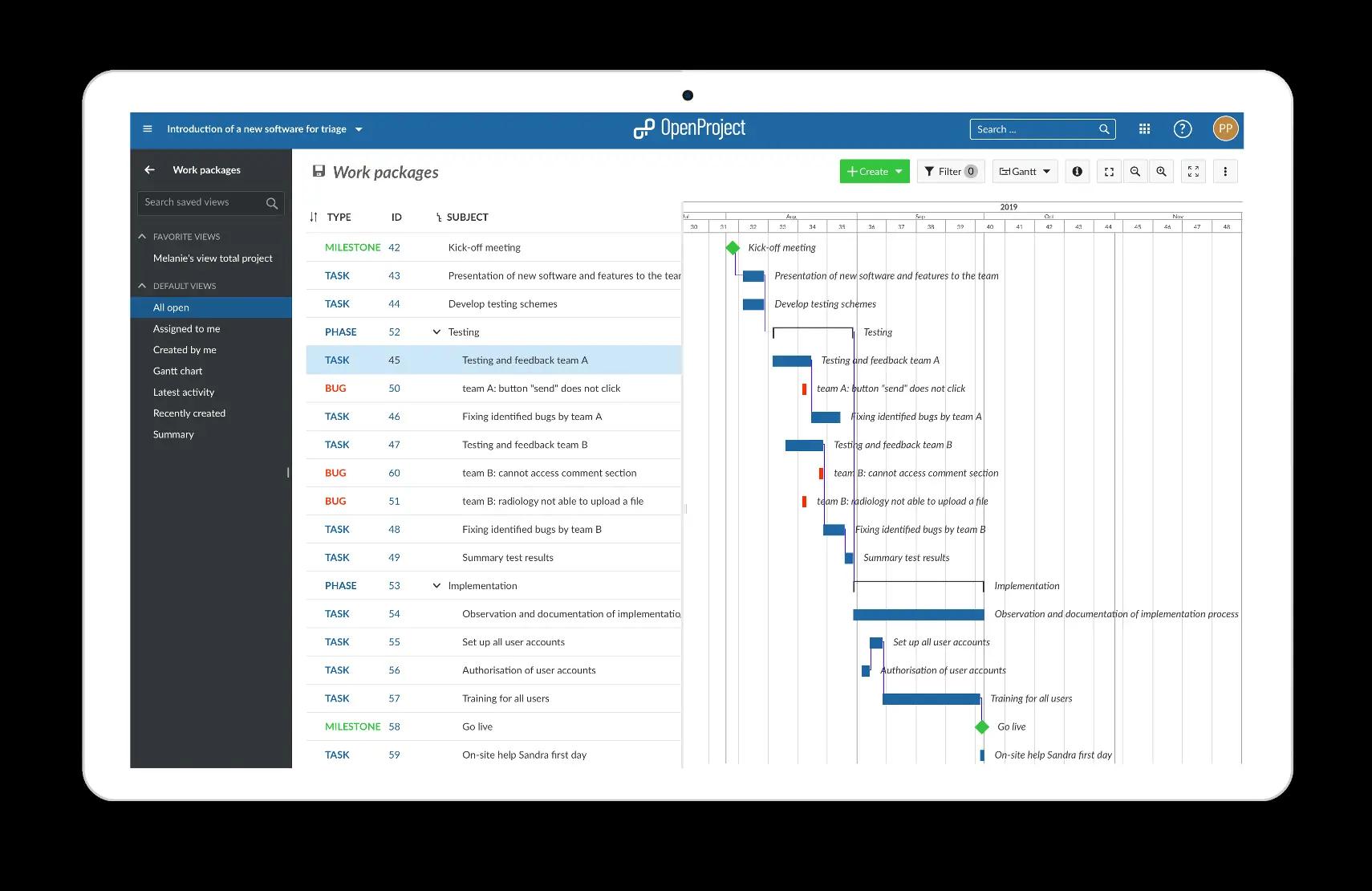 Open project screenshot - marketing materials